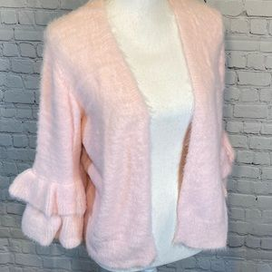 SIMPLY BE Fuzzy Pink Open Front Sweater